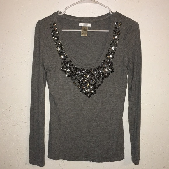 Cache Tops - Caché size S embellished grey blouse